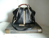 Black Grey Leather Purse  with Zippers  - Made to Order. Alternative colours possible