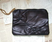 RESERVED FOR ELIZABETH - Midnight Blue to Black Leather Clutch