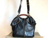 Black Leather Bag  with Faux Python Effect. Brass Zipper Detail - Ready To Ship