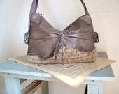 Boho Purse in Grey Leather and Handweave. Rustic Feminine Chic - OOAK