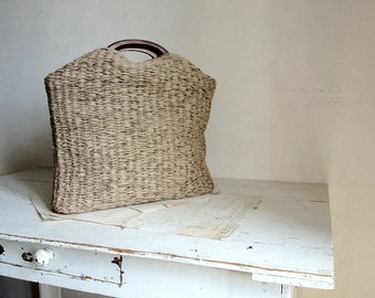 Basket Tote Woven in Dark Beige -  Made to Order