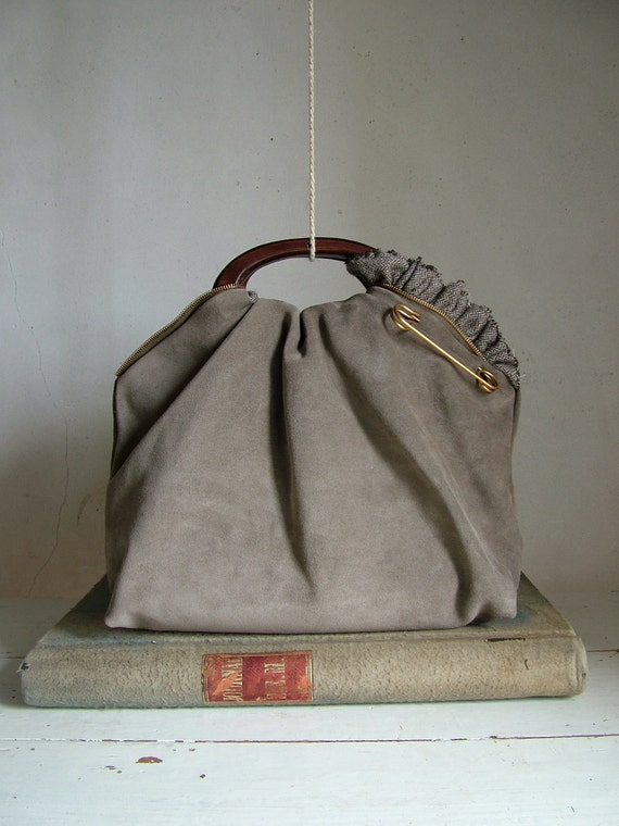 Urban Chic Clutch Tote in Taupe Grey  Suede and Vintage Brass