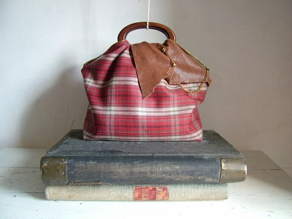 Reserved for Melissa -  Scarlet Red Tartan Plaid Tote OOAK - Ready to Ship