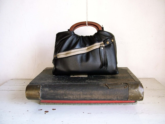 Private Listing for Wtafreak - Black Leather Handbag with  Houndstooth Detail - Similar to Bag Featured