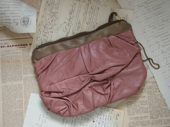 Pink Leather Clutch in Romantic Old Rose and Gold. Brass Wristlet Strap. OOAK  Ready to Ship