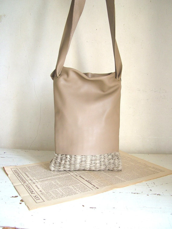 Private Listing for Dawn - Hobo Tote in Beige Natural Leather and Handweave - Ready to Ship. Reduced to Clear