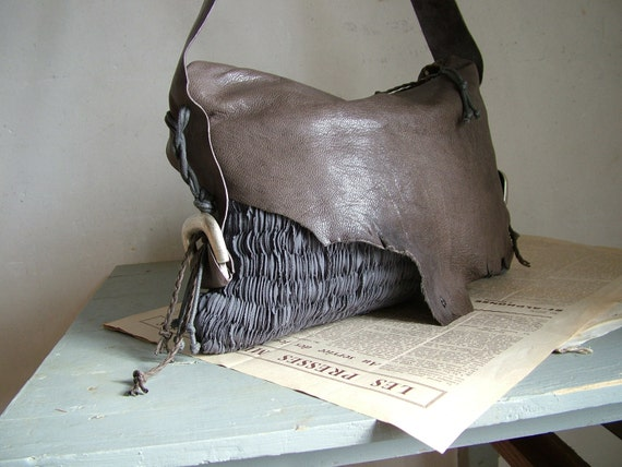 RESERVED for Andrea Boho Purse LAST ONES in Grey Brown Slouchy Leather and Slate Grey Handweave - Made to Order.