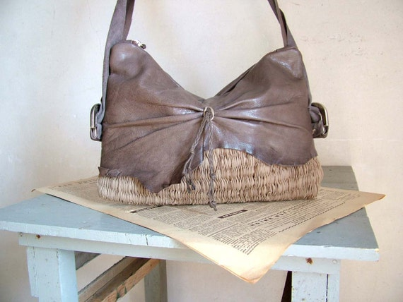 Boho Purse in Grey Leather and Handweave. Rustic Feminine Chic - OOAK