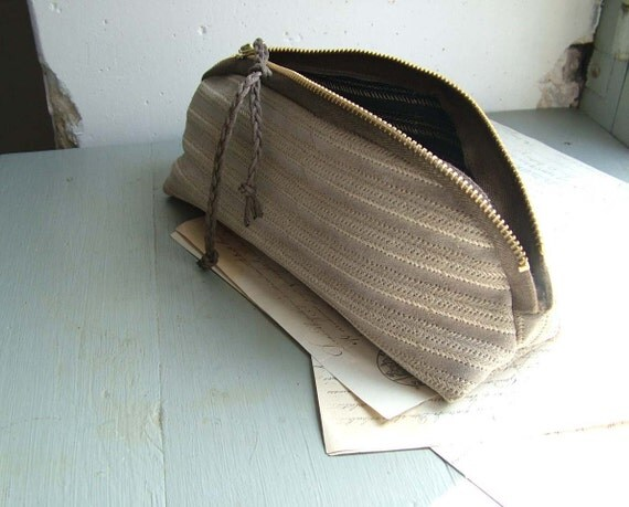 Grey Suede Zipper Pouch with Stitching Detail