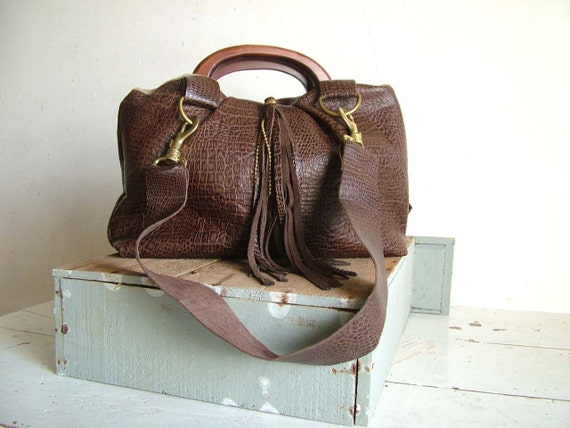 Brown Leather Handbag with Tassel and Croc Effect Texture and Tassel. Leather Shoulder Straps