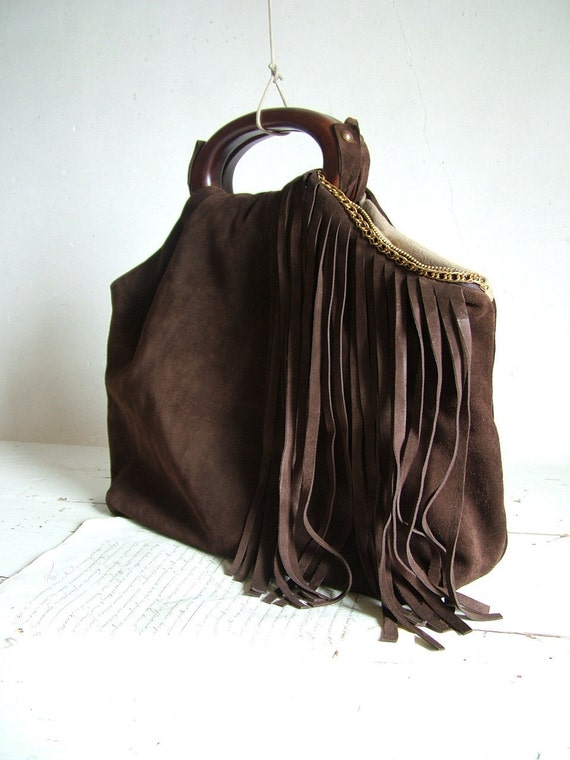 Fringe Purse in Chocolate Suede and Vintage Brass Chain.