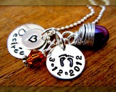 Personalized Necklace - Handstamped Womans Jewelry - Engraved child Name - Birthstone jewelery, Hand Stamped Necklace - Christmas Gift
