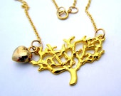Gold Tree Necklace Pendant on a 14kt Gold filled Chain - 14kt  Puffed Heart - Wedding Jewelry, Bridal, Bridesmaid, Birthday - Tree Lover