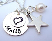 Mother's Necklace - Personalized  Hand Stamped Jewelry Necklace - Silver Jewelry - Star Molly Double Layer Mother Necklace