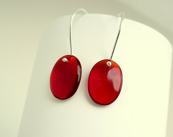 Red Earrings Sterling Silver and Glass