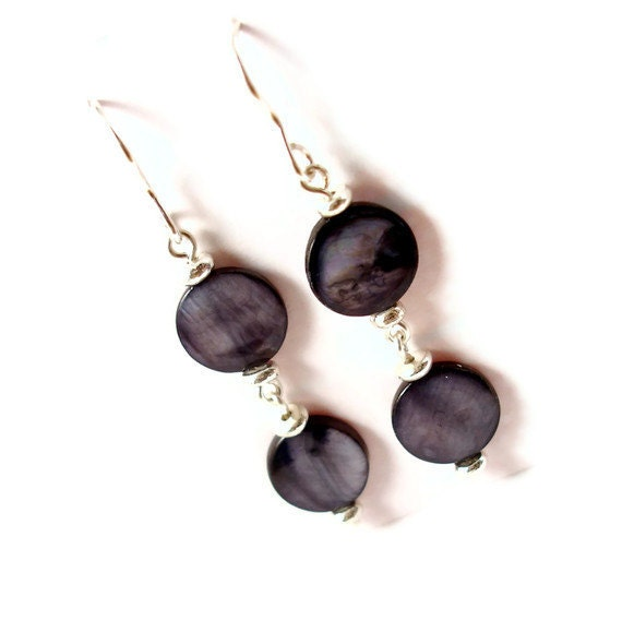 Sterling Silver Charcoal Gray Shell Drop Earrings