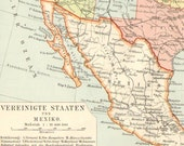 1897 Original Antique Political Map of the United States and Mexico