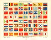 1903 International Flags Original Antique Chromolithograph to Frame