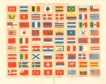 1895 International Flags, War Flags, Merchant Flags, 19th Century Original Antique Lithograph