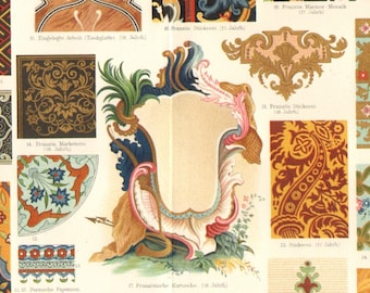 1896 Ornaments from the 17th-18th Century and Asia Original Antique Chromolithograph to Frame