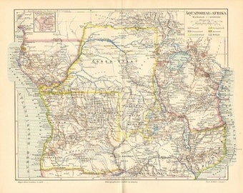 1890 Original Antique Dated Map of Equatorial Africa