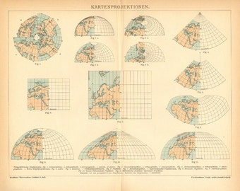 1895 Original Antique Map Showing Map Projections for World Maps