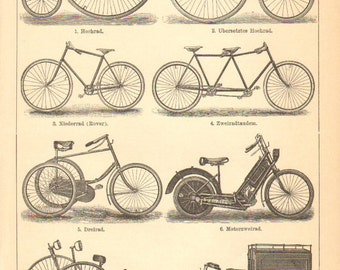 1897 Bicycles, Tricycles, Motorbicycle from the 19th Century Original Antique Engraving