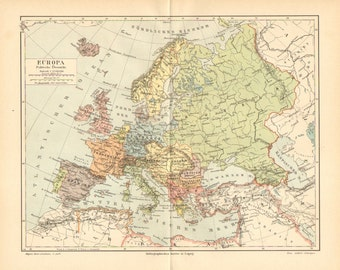 1894 Original Antique Political Map of Europe