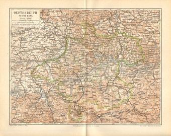 1896 Original Antique Dated Map of Upper Austria