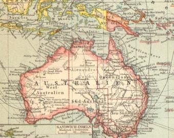 1896 Original Antique Dated Map of Oceania