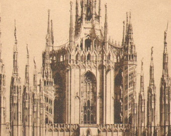 """End of 1890's """"Guglia Maggiore"""" of the Cathedral of Milan Antique Print"""