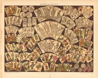 1895 Playing Cards Original Antique Chromolithograph to Frame