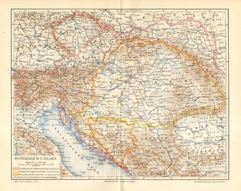 1896 Antique Political Map of the Austro-Hungarian Monarchy in the 19th Century