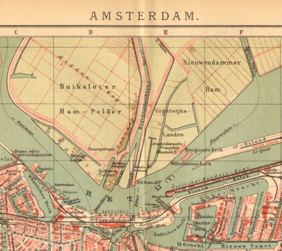 1905 Antique Dated City Map of Amsterdam