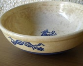 Vintage Colonial Blair, Cambridge Serving Bowl with Cornflower Blue Cross Stitch Pattern