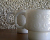Vintage Milk Glass Swirling Curly Q Stacking Mugs with Handles Set of Two