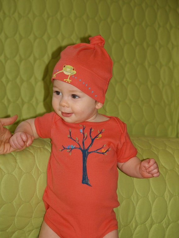 Items similar to Organic Cotton Baby Clothes Hand Painted ...