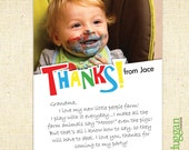 Kids Printable PhotoThank You Notes - Customized - Funky - 5x7