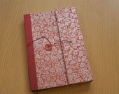 Dot Grid Journal - Orange Brocade with Red