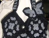 Crochet bag in two grey tones