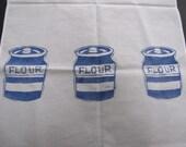 Tea Towel Blue Flour Pots and whisk
