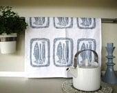 Hand Block Printed Fish Platter Tea Towel