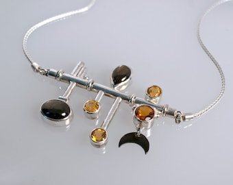 Black star sapphire and citrine necklace