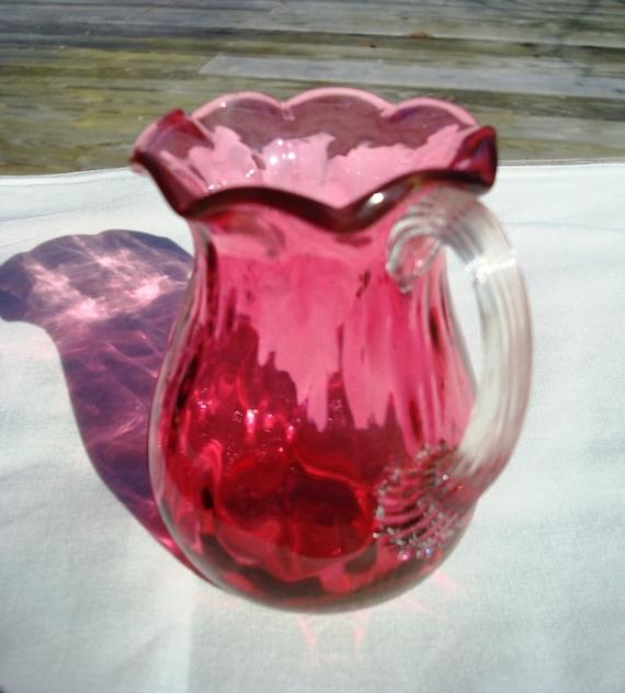 Pilgrim Genuine Cranberry Scalloped Ribbed Glass Creamer Vase