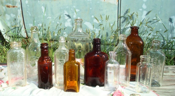 Vintage Apothecary Bottles (Set of 12)