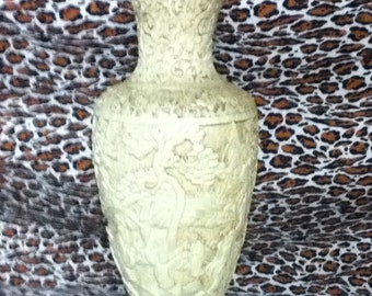 40's / 50's Asian motif plaster white Kitsch Vase