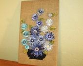 vtg 70s blue flower raffia burlap felt handmade wall hanging picture