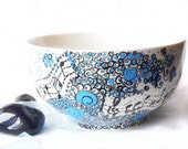 Blue Bowl Ceramic bowl -  breakfast bowl - Music bowl