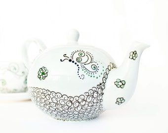 Teapot Tea Mint  - hand painted ceramics