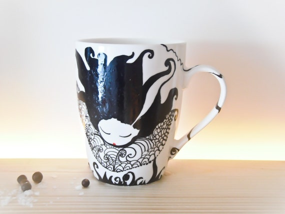 Hand painted ceramic coffee mug of Fallen Lady Vampire, Lady of the Moon Cup